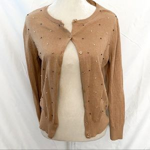 Loft camel color embellished cardigan